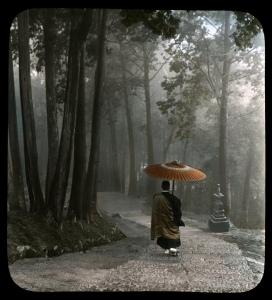 monk in the rain